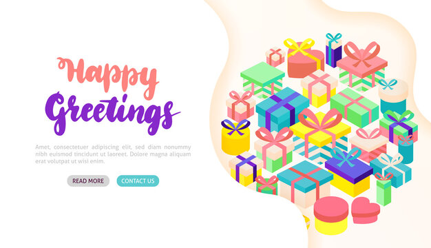 Happy Greetings Present Banner Concept
