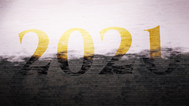 Painting 2021 over 2020. End of year 2020. New Year optimism concept