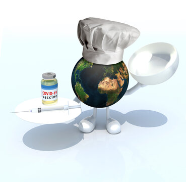 world with a chef hat, covid vaccine and syringe on a dish