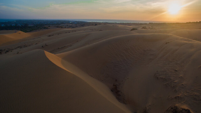 Sunset Aerial Droneshot from a empty desert in Vietnam Mui ne