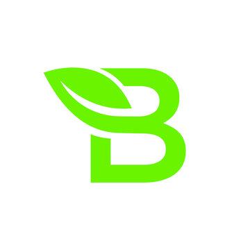 letter b leaf green logo