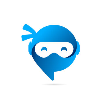 bubble chat logo with ninja concept