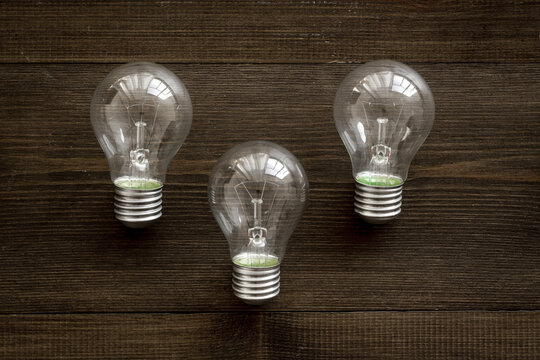 A lot of light bulbs top view. Renewable eco energy concept