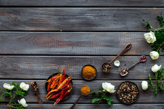 Layout of mixed hot spices and herbs, top view