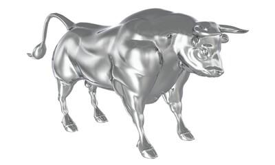 White metal bull isolated on white background 3d illustration
