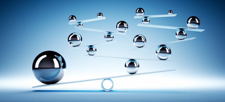 Balancing system of silver spheres with blue background - 3D illustration