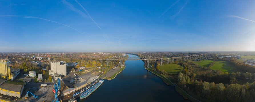 Drone aerial panorama of the Hochbrücke in Rendsburg, Schleswig holstein Germany