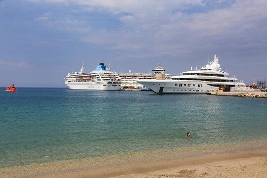 Heavy traffic of cruise ships at Rhodes harbor -Celestyal cruises