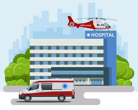 Hospital building, ambulance and Red medical evacuation helicopter. Ambulance helicopter. Healthcare, hospital and medical diagnostics.