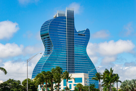 Seminole Hard Rock hotel and casino, the largest guitar shaped building in the world - Hollywood, Florida, USA