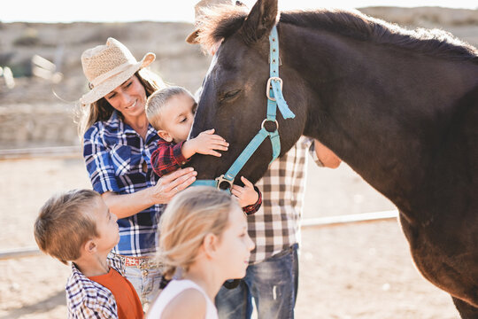 Family enjoy day at horse ranch - Parents and children, family day - Cute little boy kissing a horse
