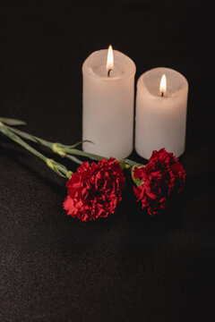 red carnation flowers and candles on black , funeral concept
