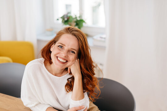High angle portrait of smiling young woman