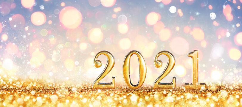 Abstract Card - Happy New Years 2021 -  Shiny Numbers With Golden Glitter
