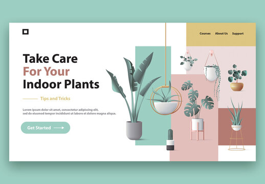 Website Header Template with Modern Indoor Plants Illustration