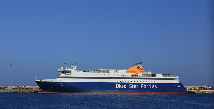 BLUE STAR NAXOS  is a Ro-Ro/Passenger Ship that was built in 2002 and is sailing under the flag of Greece. Sailing between the Greek islands