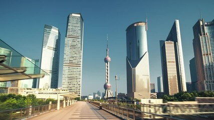 Fototapete - hyper lapse, Pudong financial district Shanghai, China