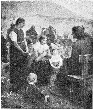 """""""The sermon on the mount"""" by a German painter of Fritz von Uhde. Illustration of the 19th century. White background."""