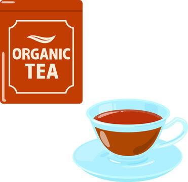 オーガニック紅茶の缶とティーカップ