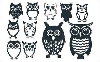 assorted cute owl bird mascot vector graphic design template set for sticker, decoration, cutting and print file