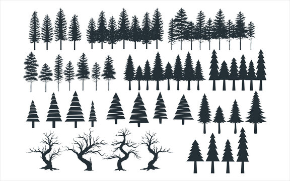 assorted pine tree vector graphic design template set for sticker, decoration, cutting and print file