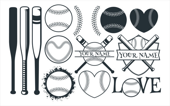 baseball sport theme vector graphic design template set for sticker, decoration, cutting and print file