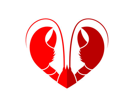 Lobster with love shape logo