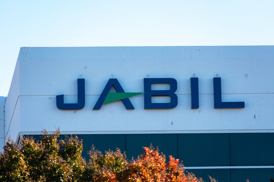 Jabil sign logo. Jabil Inc. is an American company providing supply chain and logistic services and design engineering services. - San Jose, California, USA - 2020