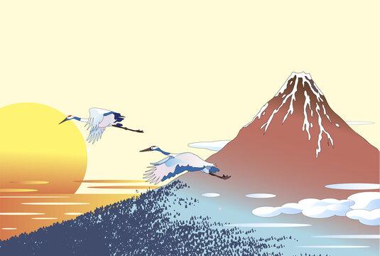 赤富士と鶴と初日の出の年賀素材
