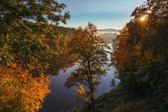 Lake Lesnia in fall colors