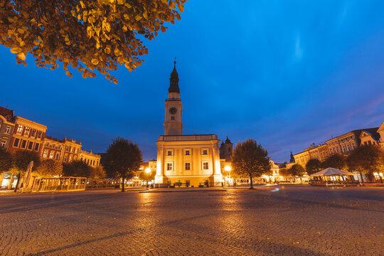 Leszno City hall at evening