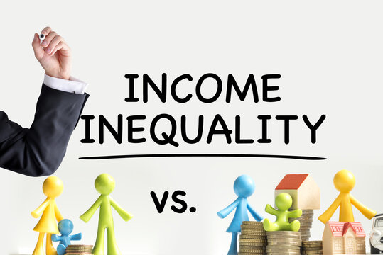 Income inequality between people or differences concept