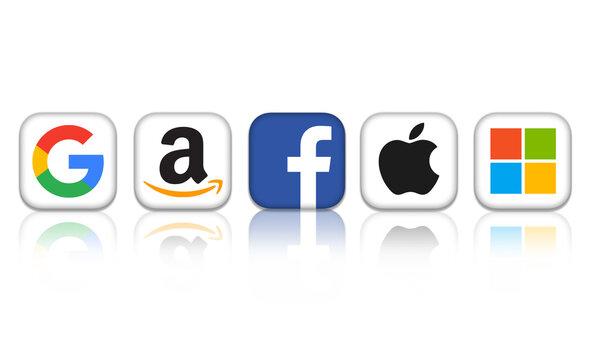 Big Tech logos of Google Amazon Facebook Apple Microsoft
