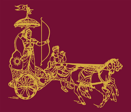 Drawing or Sketch of Lord Krishna telling Bhagavad Gita to Arjuna in Kurukshetra war field in Horse Chariot Editable Outline Illustration