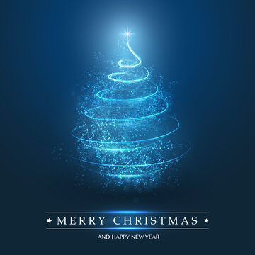 Merry Christmas, Happy Holidays Card - Christmas Tree Shape Made from Bright Spiralling Light on a Dark Blue Background
