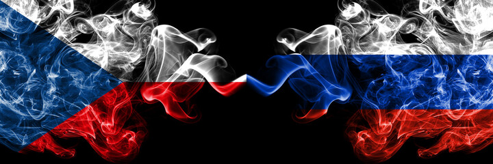 Fototapeta Czech Republic, Czech vs Russia, Russian smoky mystic flags placed side by side. Thick colored silky abstract smoke flags.