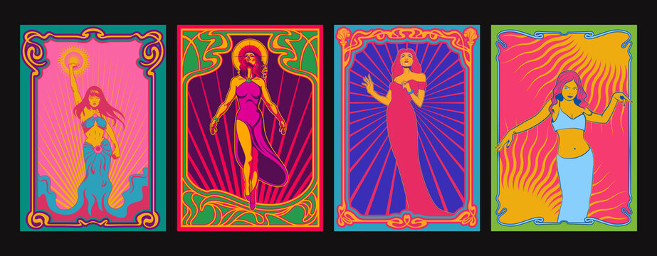 Beauties Psychedelic Art Style Posters, Art Nouveau Frames, 1960s, 1970s Psychedelic Colors