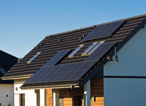 Modern solar panels on the roof of private house
