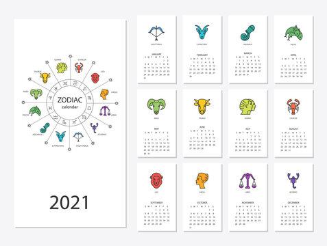 Calendar 2021 with horoscope signs zodiac symbols set