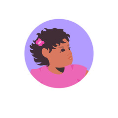 Wall Mural - young african american girl face avatar little child female cartoon character portrait vector illustration