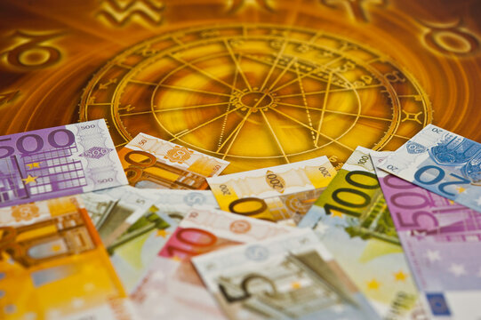 horoscope with zodiac signs and money Euro like astrology and money and astrology and wealth concept