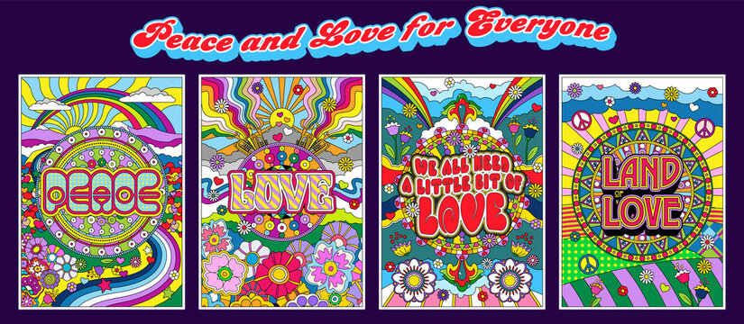 Love and Peace Hippie Style Posters, Psychedelic Color Mosaic Illustrations
