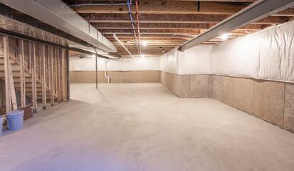 Fototapeta Basement has been insulated and waterproofed