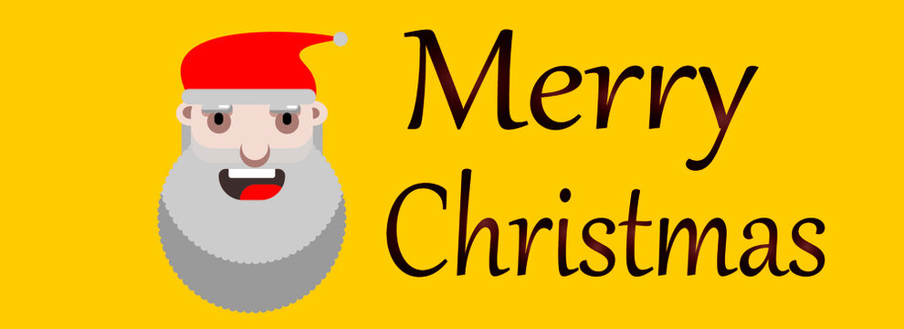 Website header or banner design with Santa Claus on yellow background for merry christmas celebration.
