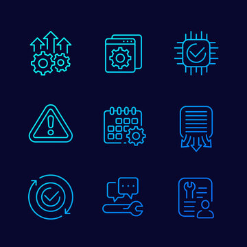 development, hardware, service and protocols line icons, vector set