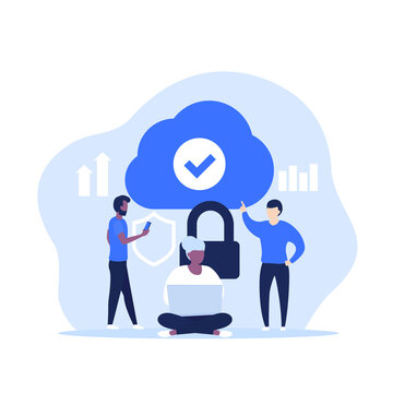 Secure cloud access, hosting or saas vector illustration with people