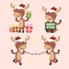 Set of cute reindeers vector