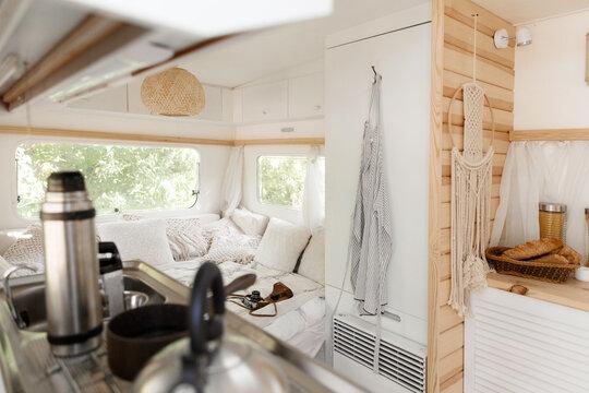 Camping in a trailer, rv interior, nobody