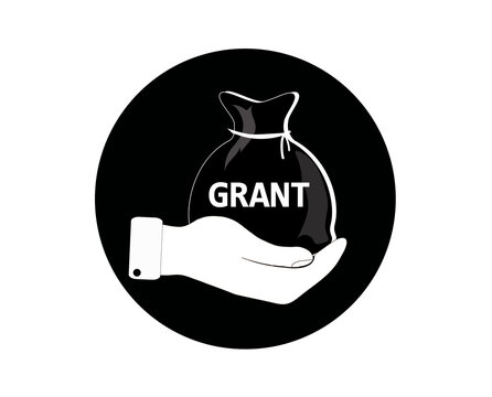 Bag of money in the hands. Business and education. Vector icon.
