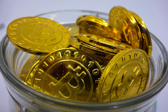 golden bitcoin coin as a digital currency